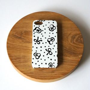 【iPhone / Android 各機種専用タイプ】側表面印刷*ハード型*スマホケース「スミレとリボンと水玉 ( black ) ● 受注生産