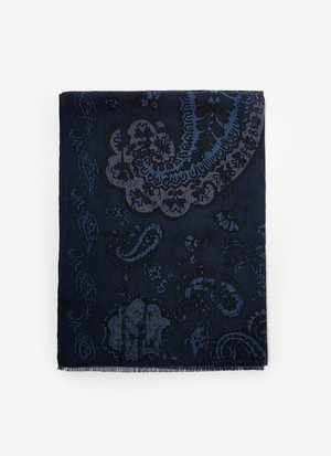 WOOL FOULARD WITH CASHMERE PRINT