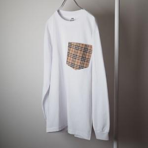 Remake PRO CLUB × BURBERRY ロングスリーブ ポケットTシャツ ホワイト