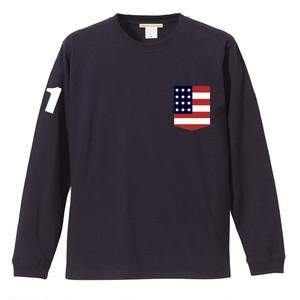 お揃い ペアルック 星条旗 プリント ポケット Tシャツ 長袖 | ビックポケット アメリカ USA 国旗 ギフト Tシャツ 5.6オンス ネイビー
