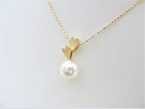 K18イエローゴールド 桜と真珠のペンダントネックレス