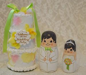 ケーキ3段型・カラフルなお花でデコレーションケーキ