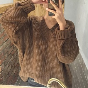 【トップス】ファッションvネック長袖セーター