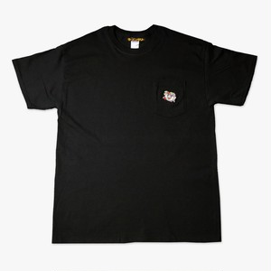 ③ラーメンくん刺繍ポケット黒Tシャツ