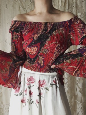 Red Paisley Top