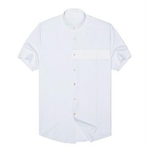 送料無料メンズ超長綿肌触りのいい白ボトルネック半袖ワイシャツ