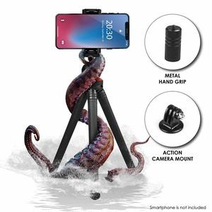 """予約販売 Python P5 12"""" Flexible Mini Tripod, Smartphone Holder, Action Camera Mount, Ball Head, Aluminum Hand Grip, Lightweight & Portable, Travel Gadget for iPhone, Samsung, GoPro, Camera (Black)"""