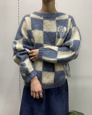 dice pattern mohair mix knit sweater 【M位】