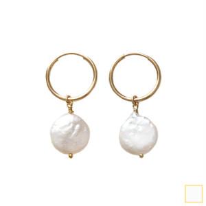 coin pearl pierce&earring