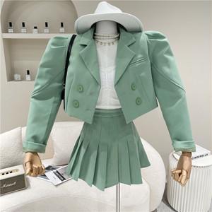 4色 set up ジャケット×プリーツスカートセットアップ c3257