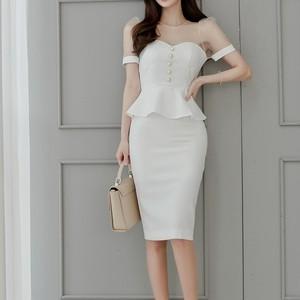 シアー&ペプラムドレス L00141