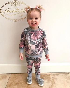 赤ちゃん 花柄 ピンク 秋冬 部屋着 女の子 ベビー服 かわいい セットアップ