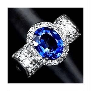 豪華な3.1ct! サファイア リング 指輪 10号 アフリカ産 綺麗に輝くカシミール・ブルー!