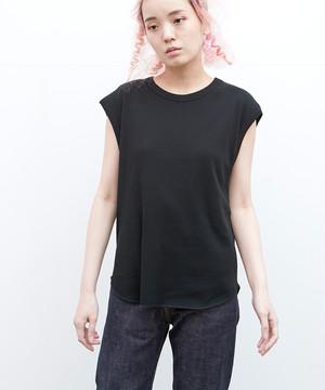 リブフレンチスリーブTシャツ(ブラック)