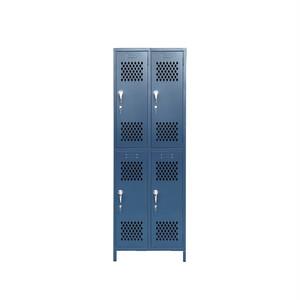2列2段アンティーク調ロッカー(ブルー)
