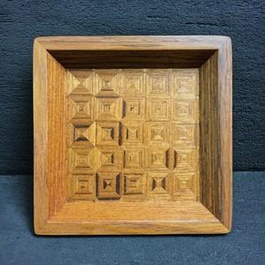 チーク wood checker mini tray 0106