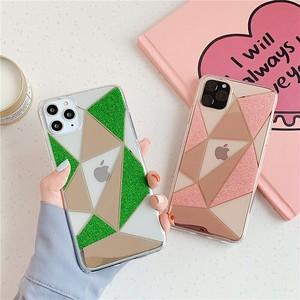 【お取り寄せ商品、送料無料】2カラー 幾何学模様 グリッター ソフト iPhoneケース iPhone11