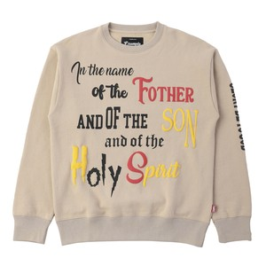 FOAM PRINT PRAYER SWEAT CREW NECK / BEIGE