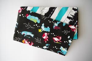 【半幅帯&巾着セット】金魚尽くし(ブラック)×ポーラーフレンズ(ターコイズ×ブラック)