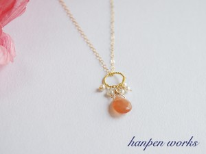 14kgf 宝石質 オレンジ ムーンストーン 淡水パール ネックレス