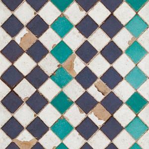 輸入壁紙【coordonne コルドネ】 Tourquoise Chess 3000003 モザイクタイル ターコイズブルー グリーン パープル モロッコ 市松 ビンテージ スペイン フリース
