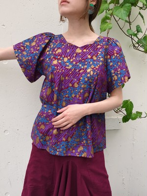 Vintage african batik animal print cotton tops ( ヴィンテージ アフリカン バティック パープル コットン トップス