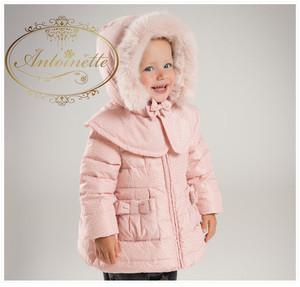 海外ハイブランド リボン フード取り外し可能 davebella kids downcort  コート 子供用 ダウンコート 子供 キッズ  花柄 パープル 冬 冬用 海外服 かわいい おんなのこ コート