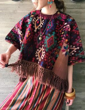 Vintage Guatemala brown embroidery fringe tops ( ヴィンテージ グアテマラ ブラウン フリンジ 刺繍 トップス