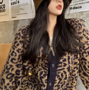 Leopard pattern front button cardigan LD0510