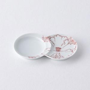 吹き牡丹・赤 小分け豆皿