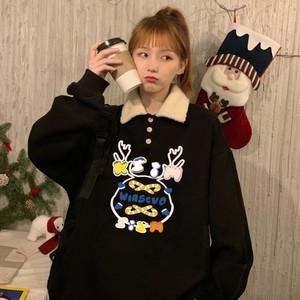【トップス】キュートシンプル長袖プリントクリスマスパーカー38167279