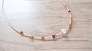 Kunzite + Tourmaline Baby Pink Beads Necklace