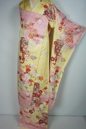 未使用 襦袢付き トールサイズ 振袖 貝桶 花柄 正絹 パステルイエロー 黄色 025
