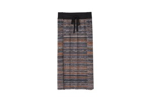 KASURI PLEATS SKIRT -  [ BLACK,ORANGE ]