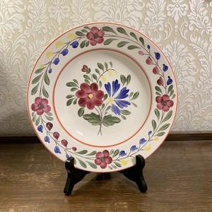 ハンガリー   GRANIT 社 ワインとブルーの花柄 飾り皿