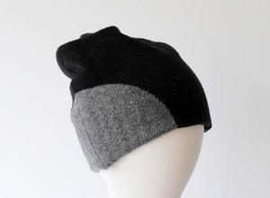 % PERCENT ニット帽(秋冬用・リバーシブル)セルフヒーター・ホールガーメント・ブラック・グレー(男女兼用)