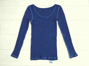 ◆100%自然素材 天然灰汁発酵建て 藍染◆ 高素材 リバーシブル長袖インナーウェア