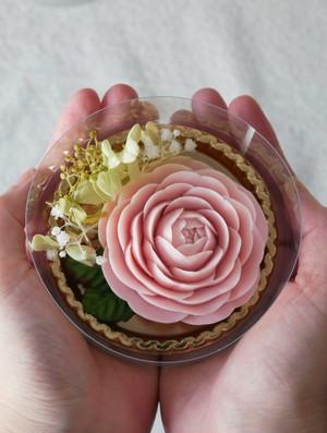 ソープカービングフラワー【ピンクの乙女椿】 手のひらサイズの贈り物シリーズ