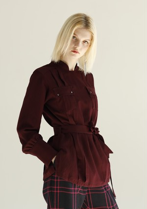 MANTECO-SOLID CARGO POCKET BLOUSE