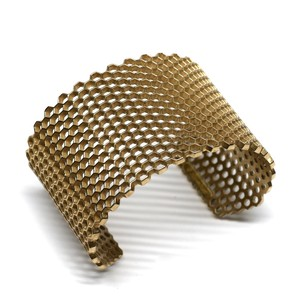 Bronze Honeycomb Structure Wide Bangle by Mignon Faget