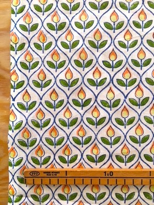 【NEW】Block print 黄と橙の花模様