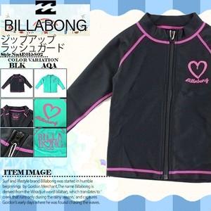AE015-802 ビラボン ラッシュガード キッズ 子供用 長袖 ジップアップ 水着 UV マリンスポーツ 黒 水色 ブラック アクア ロゴ 90 110 BILLABONG