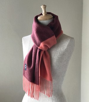 カシミヤスマフラー【 Pure cashmere bi-color muffler  Orange/Wine 】