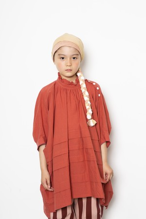 【21SS】folkmade(フォークメイド) frill high neck tuck shirts シャツ brick red(S/M)