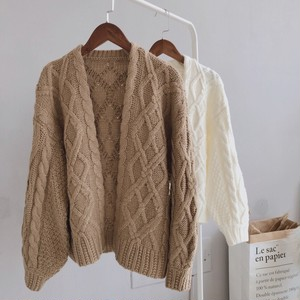 Sleeve volume cable knit cardigan