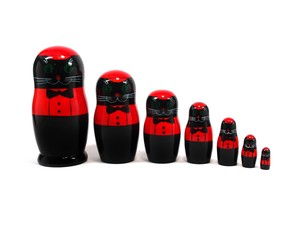 Semyon cat Matryoshka 7 piece (BLACK)
