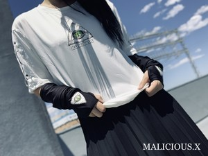 eye sleeve ring T-shirt / white