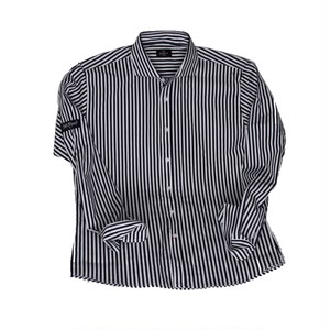 dressy stripe shirt / navy×white