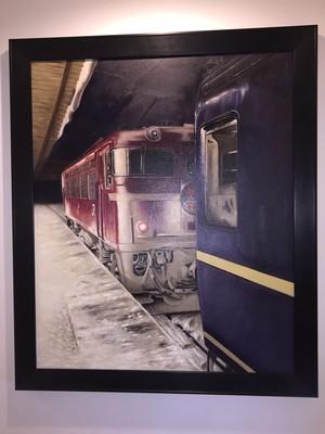油絵2:限定商品 最後の冬となった急行はまなす青森駅でのED79 4 単機車庫回送