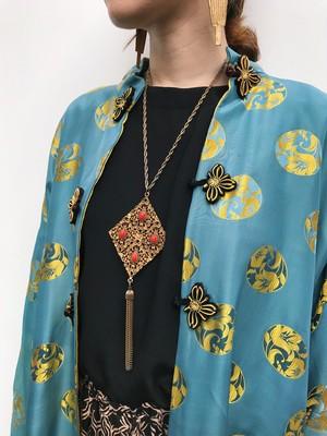 Vintage oriental gold × orange fringe necklace ( ヴィンテージ オリエンタル ゴールド × オレンジ フリンジ ネックレス )